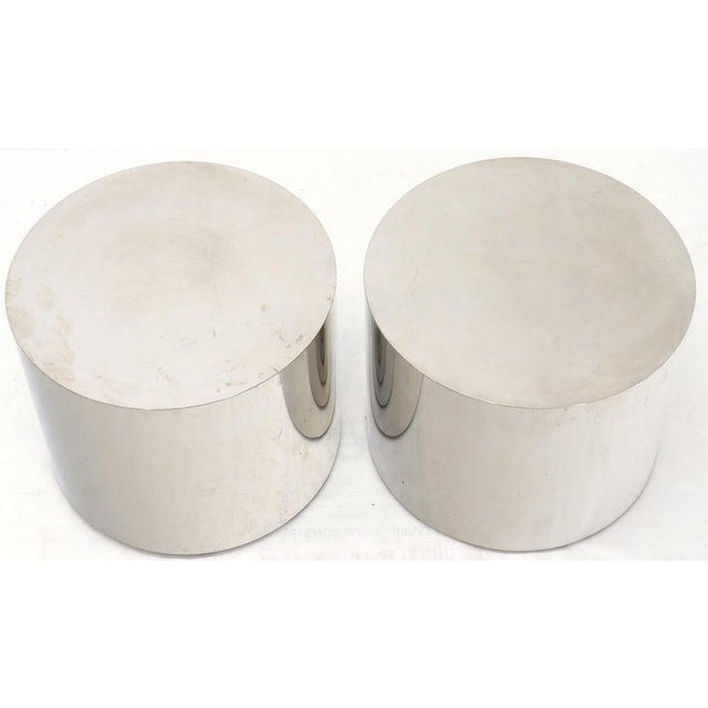 Pair of Chrome Cylinder Side End Tables or Wide Pedestals For Sale - Image 4 of 10