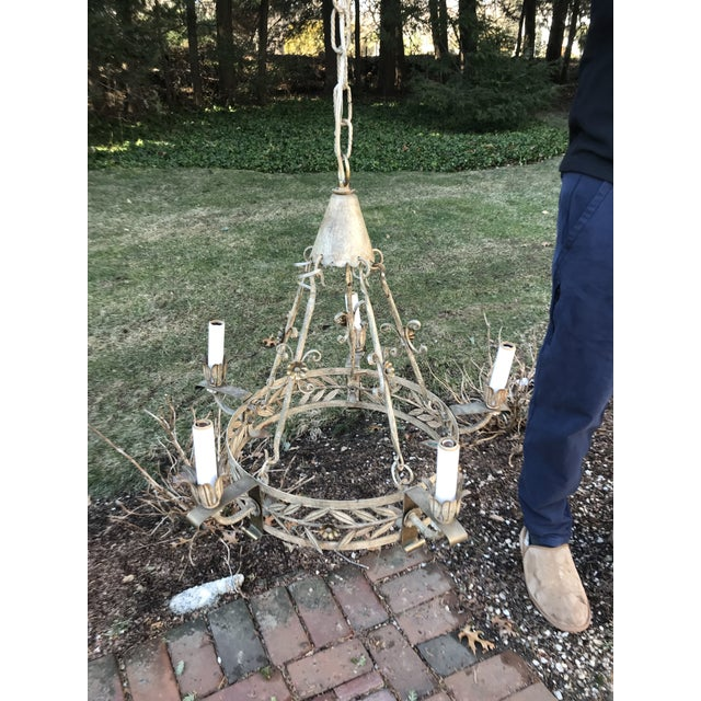 1920s Vintage Tole Neoclassical 5 Arm Chandelier For Sale - Image 10 of 10
