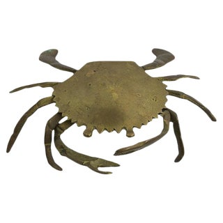 Mid-Century Brass Crab Ashtray For Sale