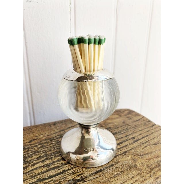 1910s English Sterling Silver and Glass Match Striker For Sale - Image 5 of 7