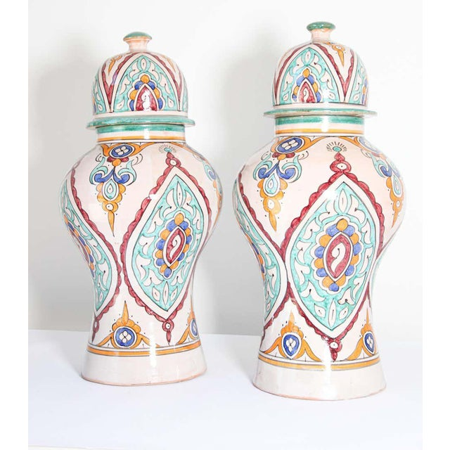 Islamic Moorish Ceramic Glazed Covered Urns Handcrafted in Fez Morocco - A Pair For Sale - Image 3 of 11
