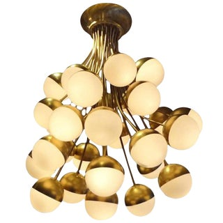 Stilnovo Rare Grand Scale 30-Light Mid Century Chandelier Italy Circa 1958 For Sale
