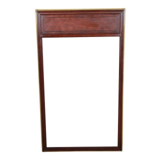 Baker Furniture Hollywood Regency Campaign Burl Wood and Brass Framed Wall Mirror For Sale