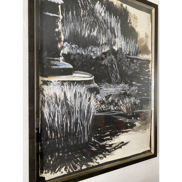 Abstract Oversize Black & White Abstract Landscape Painting, Signed & Framed For Sale - Image 3 of 8