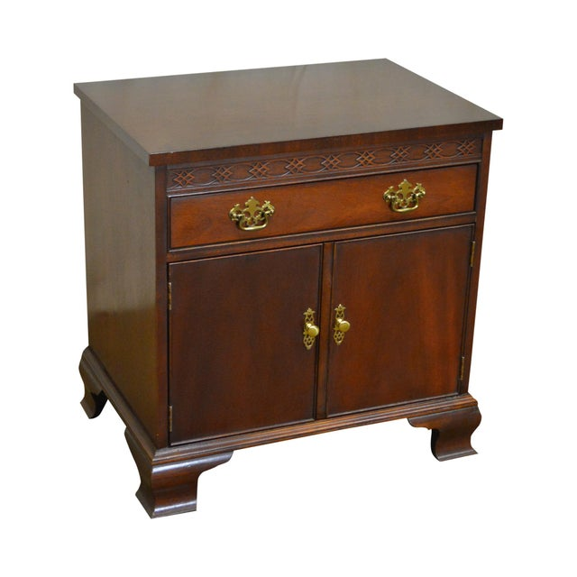 Baker Chippendale Style Mahogany Nightstand - Image 11 of 11