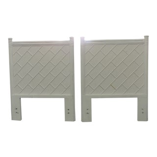Pair of Tall Rattan Chippendale Twin Headboards For Sale