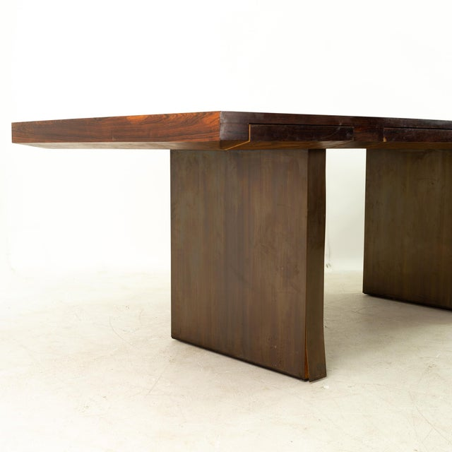 Dunbar Furniture Edward Wormley for Dunbar Mid Century Rosewood and Bronze Executive Desk For Sale - Image 4 of 10