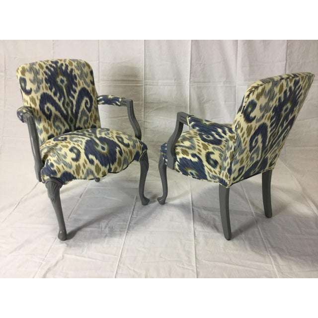 Blue Gray Lacquered Cabriole Leg Chairs Reupholstered in Kravet - A Pair For Sale - Image 8 of 11