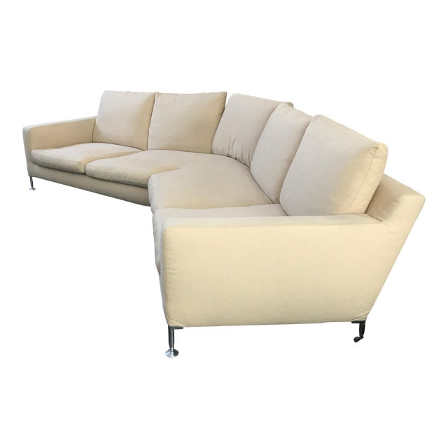 Modern B & B Italia Harry Large Buttery Beige Sofa Sectional For Sale