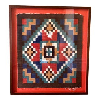 1980s Scandinavian Red Textile in Red Shadow Box Frame For Sale