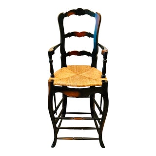 French Country Bar Stool With Cane Seat For Sale