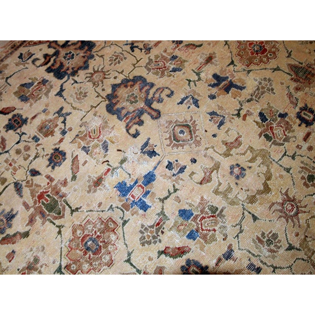 1900s Handmade Antique Persian Mahal Distressed Rug 8.10' X 11.6' For Sale In New York - Image 6 of 9