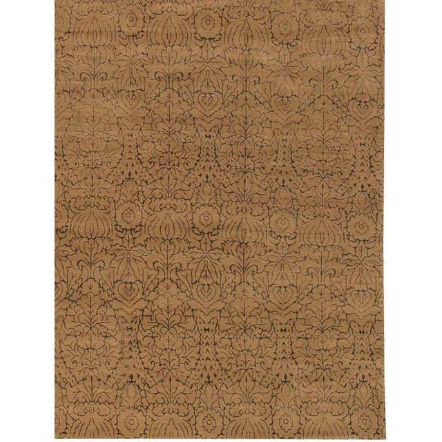 Contemporary Hand Woven Gold Silk & Wool Rug - 12' X 18' - Image 3 of 4