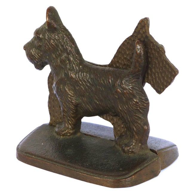 """Traditional Vintage Cast Iron """"Scottie"""" Dog Bookends, a Pair For Sale - Image 3 of 6"""
