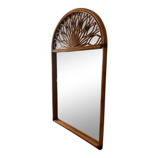 1970s Vintage Mid Century Bamboo Wrapped Mirror With Geometric Sunburst Detail For Sale