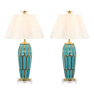 Striking Pair of Custom Ceramic Lamps in Turquoise and Gold For Sale