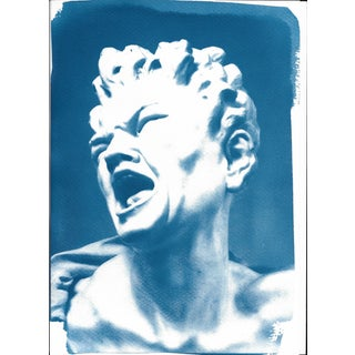 Limited Serie Cyanotype Print, Bernini 'Damned Soul' Sculpture on Watercolor Paper