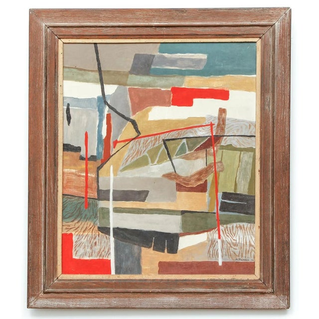 Wood 1940's Oil on Board Painting by N. Rosfeld, Framed For Sale - Image 7 of 7