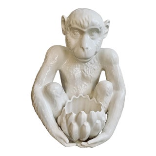 Vintage Italian Ceramic Monkey Cachepot For Sale