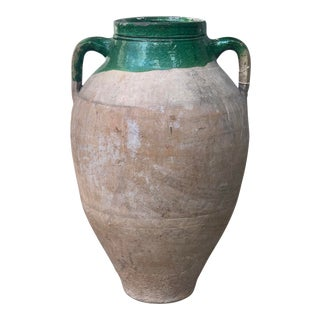 Antique French Terracotta Vessel With Green Accents For Sale