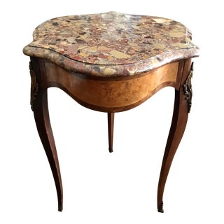 Antique 19th Century Louis XVI Style Table With Marble Top