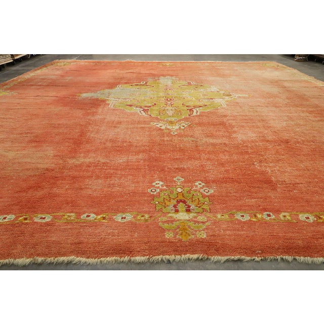 Textile Distressed Antique Turkish Oushak Rug - 14'07 X 15'05 For Sale - Image 7 of 10