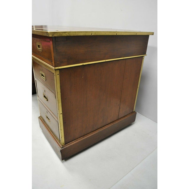 19th Century Campaign Mahogany Partner Desk For Sale - Image 9 of 13