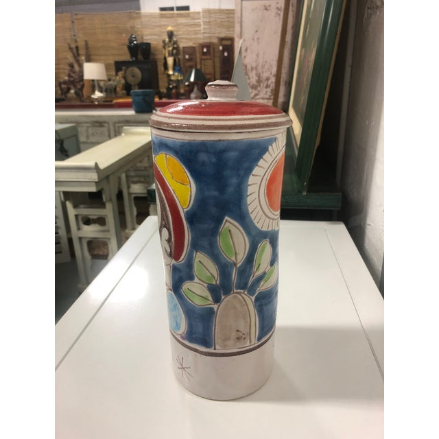 Abstract Vintage DeSimone Pottery Jar For Sale - Image 3 of 7