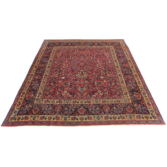 RugsinDallas Square Hand Knotted Antique Persian Mashad Rug - 6′8″ × 7′5″ - Image 2 of 2