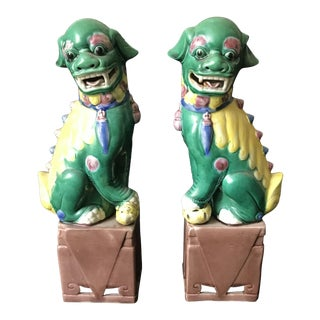 Vintage Hand Painted Multicolored Chinese Foo Dogs - A Pair