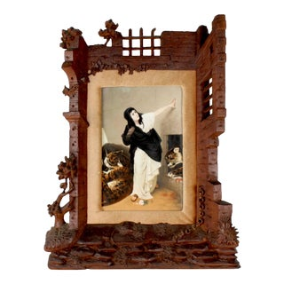 19th Century German Porcelain Plaque of Euphemia in a Carved Black Forest Frame For Sale