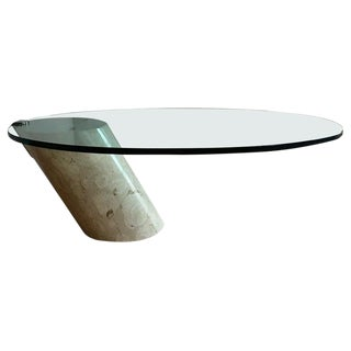 Italian Marble and Oval Glass Cantilevered Coffee Table For Sale