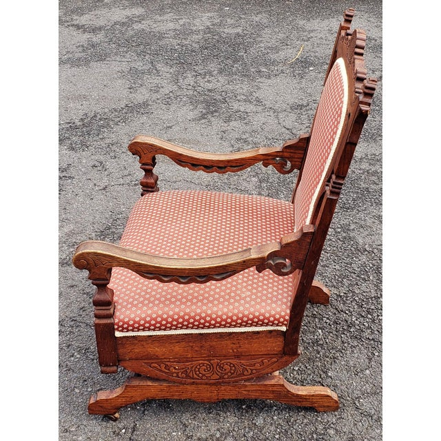 Traditional 19th C Victorian American Upholstered Carved Oak Rocking Chair For Sale - Image 3 of 10