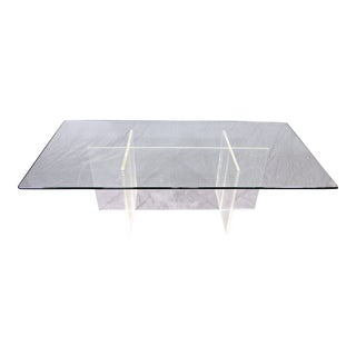 Mid-Century Modern Lucite Glass Top Coffee Table For Sale