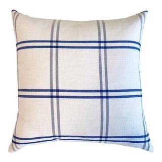 """Forsyth Schumacher Indigo Plaid Pillow, 18"""" For Sale"""