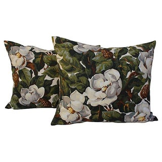 Magnolia Tree Floral Pillows - Pair For Sale