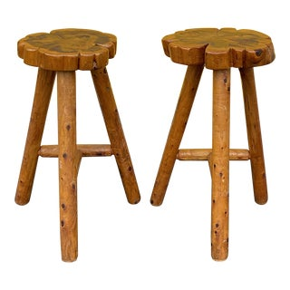 Vintage Wooden Bar Stools - a Pair For Sale