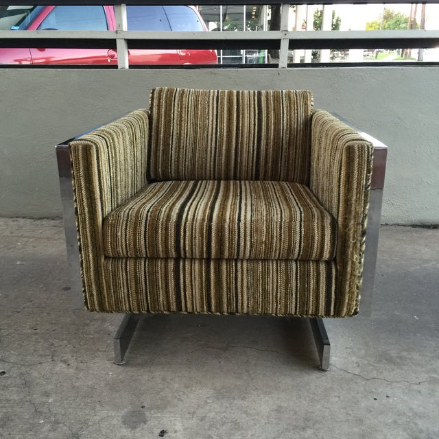 Patrician Furniture Co. vintage chrome frame lounge chair, circa 1978. Original upholstery in mint condition. Chrome frame...