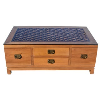 Asian Coffee Table With Antique Screen and 8 Drawers For Sale