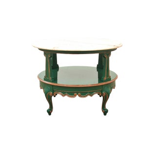 1940's Pink Marble Topped Green and Rose Gold Accent Table For Sale