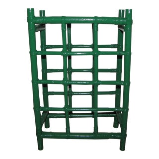 Boho Chic Emerald Green Rattan Wine Rack For Sale