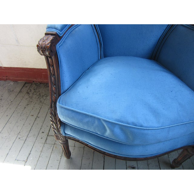 Textile 1940s Antique Petite French Blue Upholstery Carved Walnut Frame Fireside Chairs or Bergeres- a Pair For Sale - Image 7 of 13