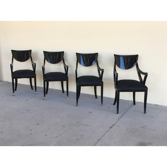 Black 1980s Vintage Pietro Costantini Gondola Lacquered Dining Armchairs- Set of 4 For Sale - Image 8 of 11