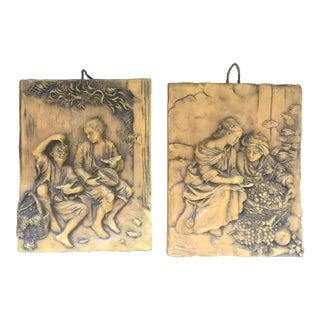 Vintage German Folk Art Hand Carved Wax Plaques - A Pair