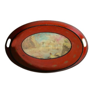 19th Century Oval French Tole Tray For Sale