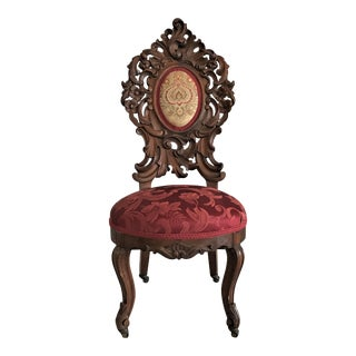 Ca. 1860 Carved Victorian Rococo Chair For Sale