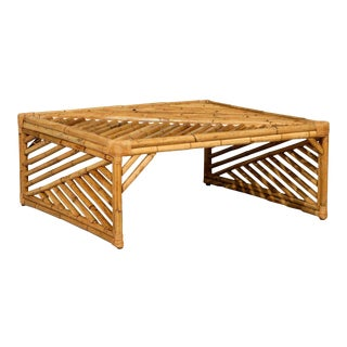 Striking Modern Chippendale Style Coffee Table in Bamboo For Sale