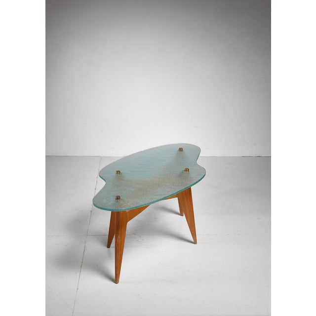 1950s French coffee table with free form glass top, 1950s For Sale - Image 5 of 5