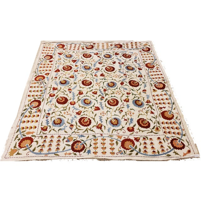Silk 20th Century Asian Suzani Textile Rug - 3'5x3'7 For Sale - Image 7 of 10