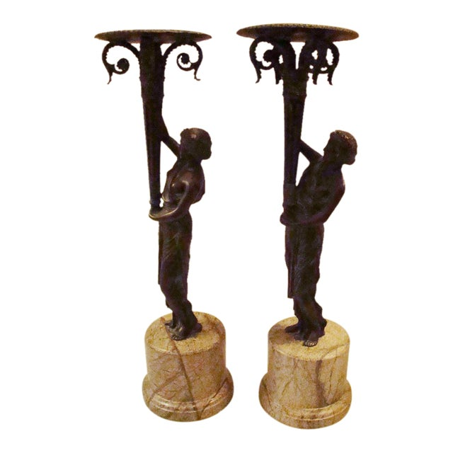 Art Deco Bronze Figural Candle Holders - A Pair - Image 1 of 11